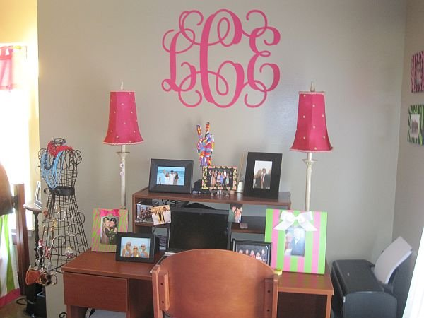 "alt=""a preppy apartment on a budget"", alt=""pink monogram"", alt=""wall monogram"""