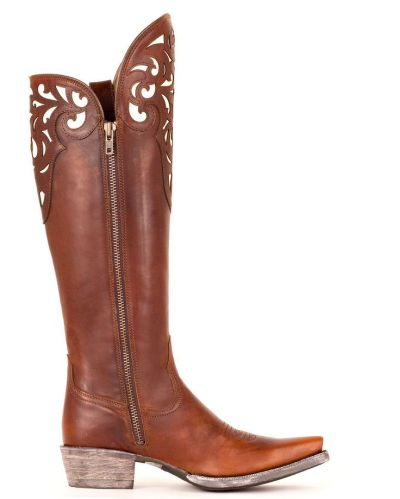 "alt=""preppy cowboy boots"", alt=""boots with cut outs"", alt=""brown leather cowboy boots"""
