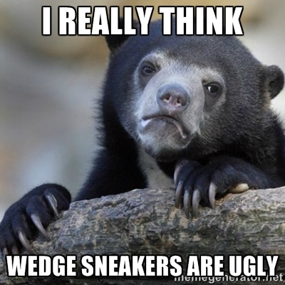 "alt=""sight seeing at walden galleria"", alt=""i hate wedge sneakers"""
