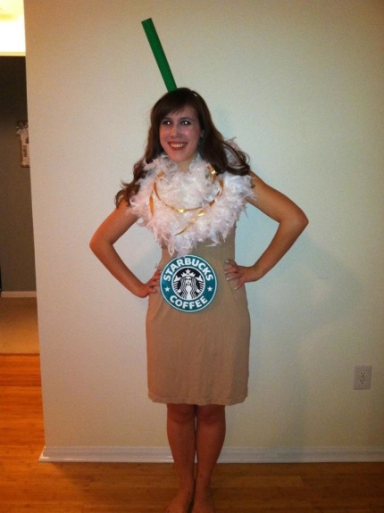 who are you going to be this halloween, starbucks iced coffee costume, halloween costume starbucks