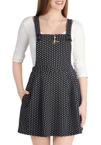 modcloth jumper, jumper from modcloth, polka dot jumper, polka dot dress, polka dot modcloth dress, polka dot modcloth jumper, polkadot overalls, the best sales of black friday