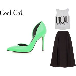 cat crop top, black midi skirt, concert clothing, memorial day outfit, bright heels, memorable outfit,
